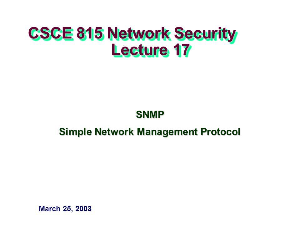 – 32 – CSCE 815 Sp 03 sendPdu