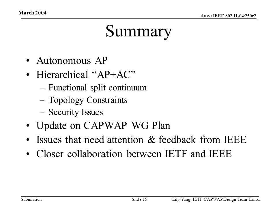 doc.: IEEE 802.11-04/250r2 Submission March 2004 Lily Yang, IETF CAPWAP Design Team EditorSlide 15 Summary Autonomous AP Hierarchical AP+AC –Functional split continuum –Topology Constraints –Security Issues Update on CAPWAP WG Plan Issues that need attention & feedback from IEEE Closer collaboration between IETF and IEEE