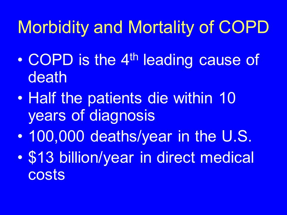 Morbidity and Mortality of COPD COPD is the 4 th leading cause of death Half the patients die within 10 years of diagnosis 100,000 deaths/year in the