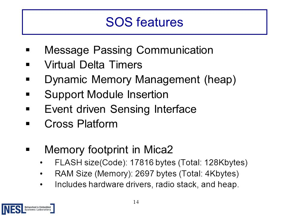 14 SOS features  Message Passing Communication  Virtual Delta Timers  Dynamic Memory Management (heap)  Support Module Insertion  Event driven Sensing Interface  Cross Platform  Memory footprint in Mica2 FLASH size(Code): 17816 bytes (Total: 128Kbytes) RAM Size (Memory): 2697 bytes (Total: 4Kbytes) Includes hardware drivers, radio stack, and heap.
