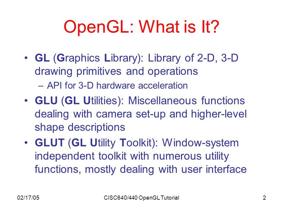 02/17/05CISC640/440 OpenGL Tutorial3 OpenGL Geometric Primitives GL_QUAD_STRIP GL_POLYGON GL_TRIANGLE_STRIP GL_TRIANGLE_FAN GL_POINTS GL_LINES GL_LINE_LOOPGL_LINE_STRIP GL_TRIANGLES GL_QUADS