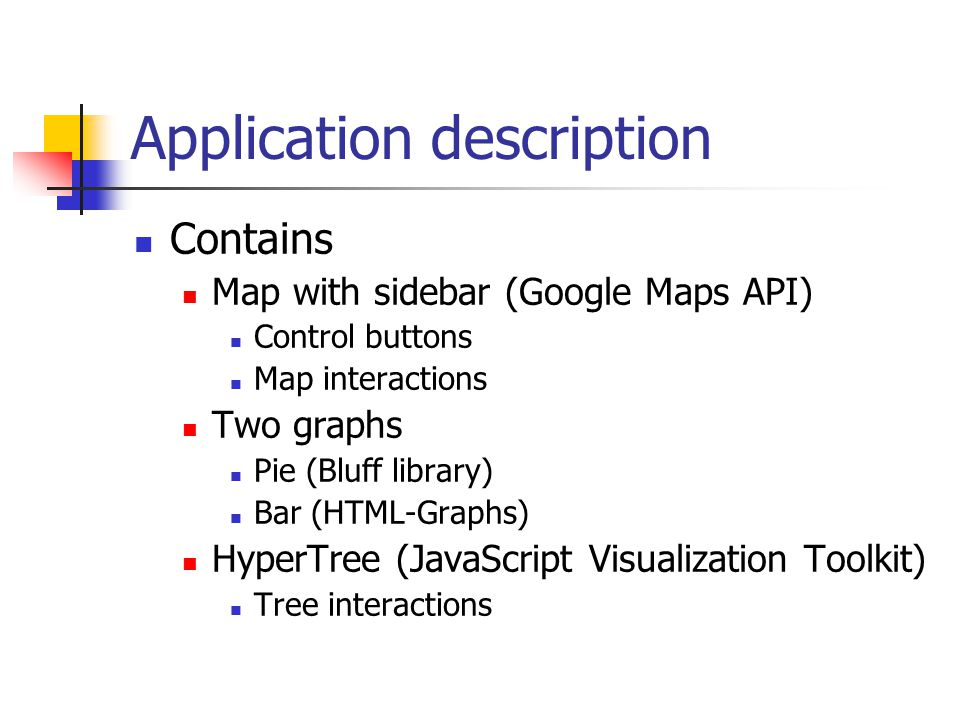 Application description Contains Map with sidebar (Google Maps API) Control buttons Map interactions Two graphs Pie (Bluff library) Bar (HTML-Graphs)