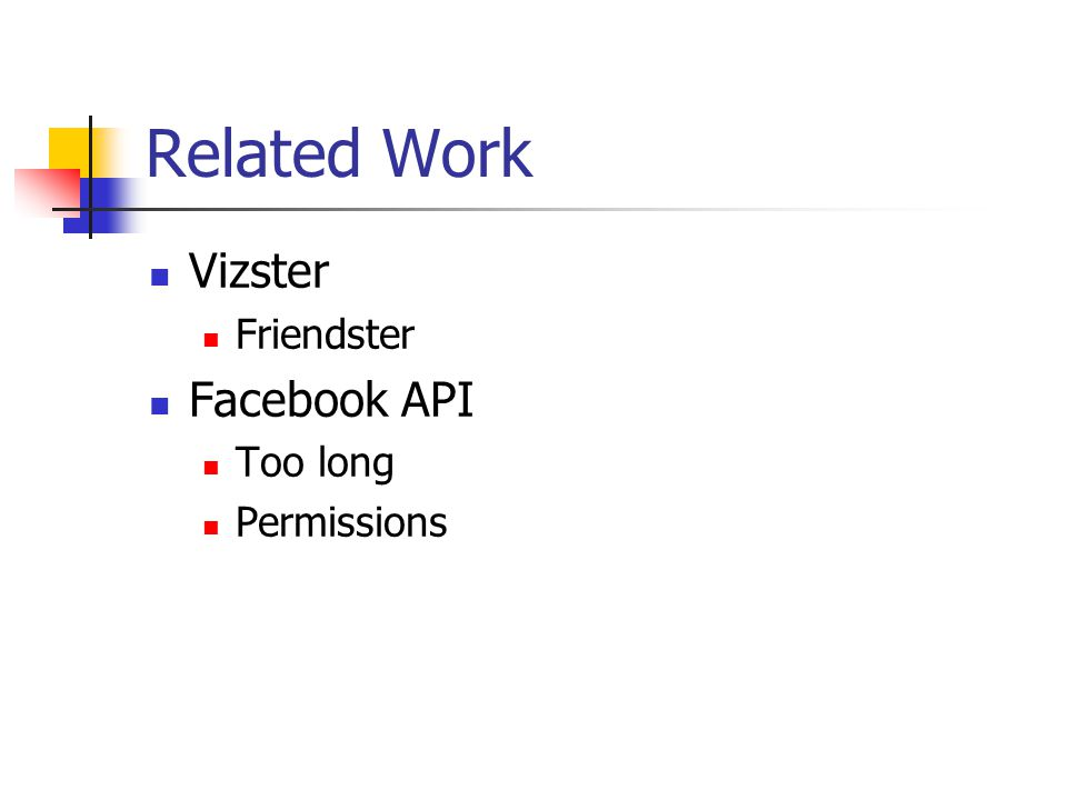 Related Work Vizster Friendster Facebook API Too long Permissions