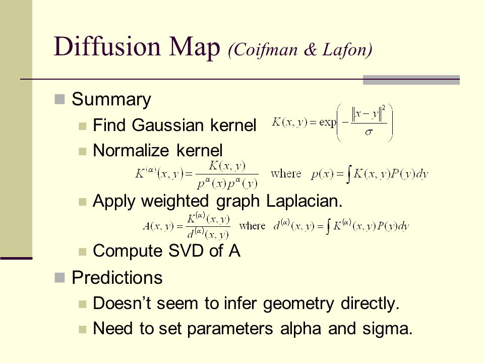 Diffusion Map (Coifman & Lafon) Summary Find Gaussian kernel Normalize kernel Apply weighted graph Laplacian.
