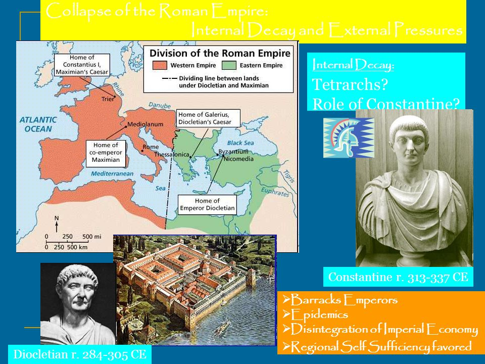 Collapse of the Roman Empire: Internal Decay and External Pressures Internal Decay: Tetrarchs.