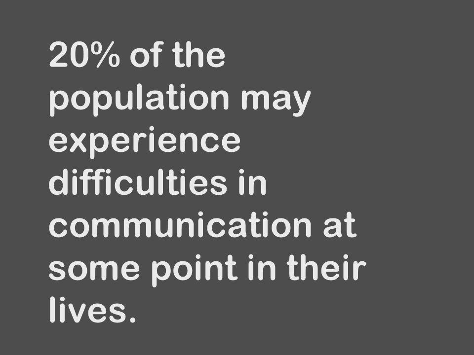 20% of the population may experience difficulties in communication at some point in their lives.