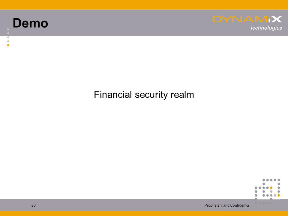 Proprietary and Confidential20 Demo Financial security realm