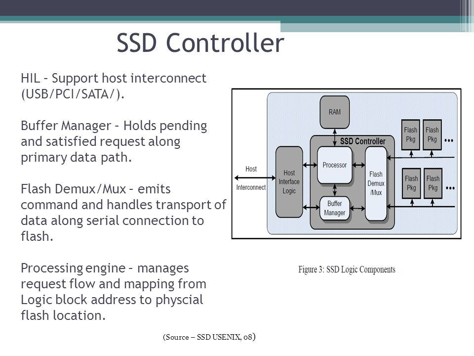 SSD Controller HIL – Support host interconnect (USB/PCI/SATA/). Buffer Manager – Holds pending and satisfied request along primary data path. Flash De