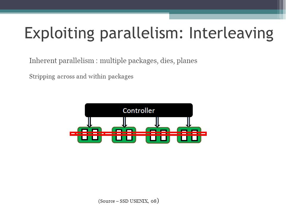 Inherent parallelism : multiple packages, dies, planes Stripping across and within packages Exploiting parallelism: Interleaving (Source – SSD USENIX,