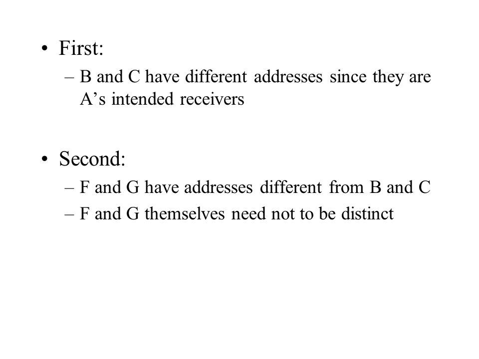 First: –B and C have different addresses since they are A's intended receivers Second: –F and G have addresses different from B and C –F and G themselves need not to be distinct
