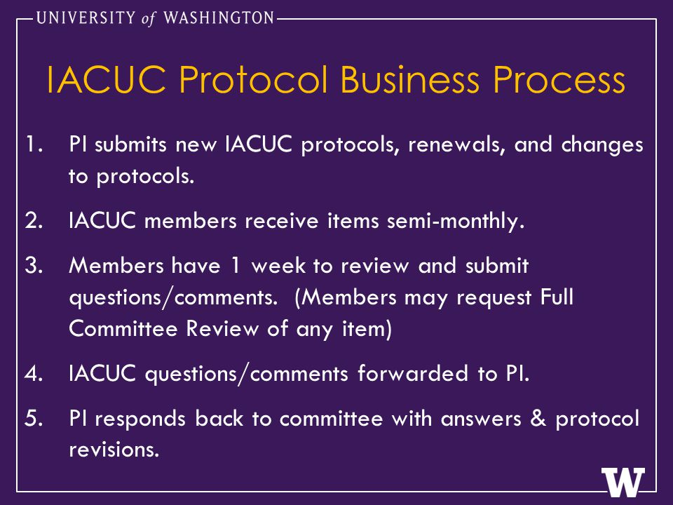 IACUC Protocol Business Process 1.PI submits new IACUC protocols, renewals, and changes to protocols.