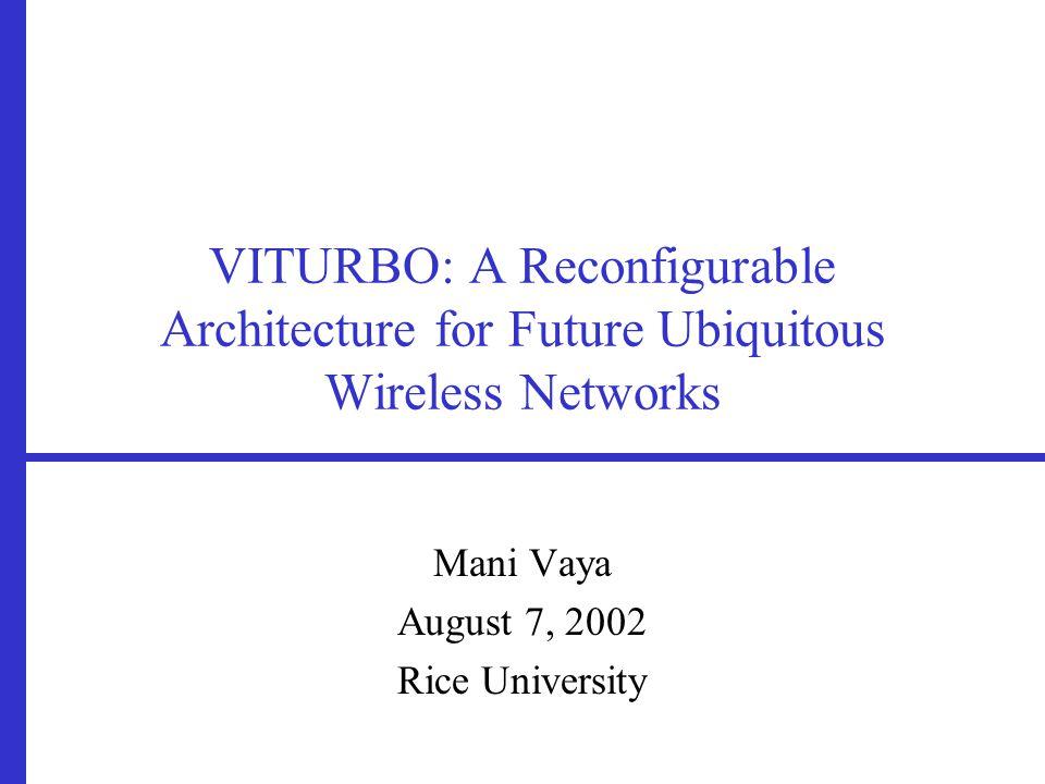 VITURBO: A Reconfigurable Architecture for Future Ubiquitous Wireless Networks Mani Vaya August 7, 2002 Rice University