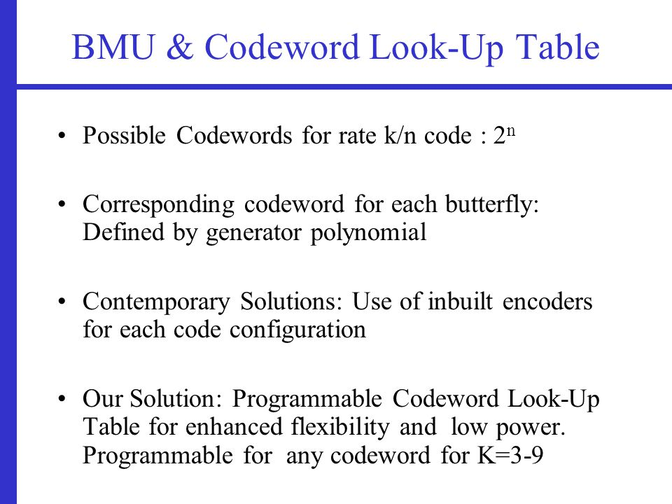 BMU & Codeword Look-Up Table Possible Codewords for rate k/n code : 2 n Corresponding codeword for each butterfly: Defined by generator polynomial Contemporary Solutions: Use of inbuilt encoders for each code configuration Our Solution: Programmable Codeword Look-Up Table for enhanced flexibility and low power.
