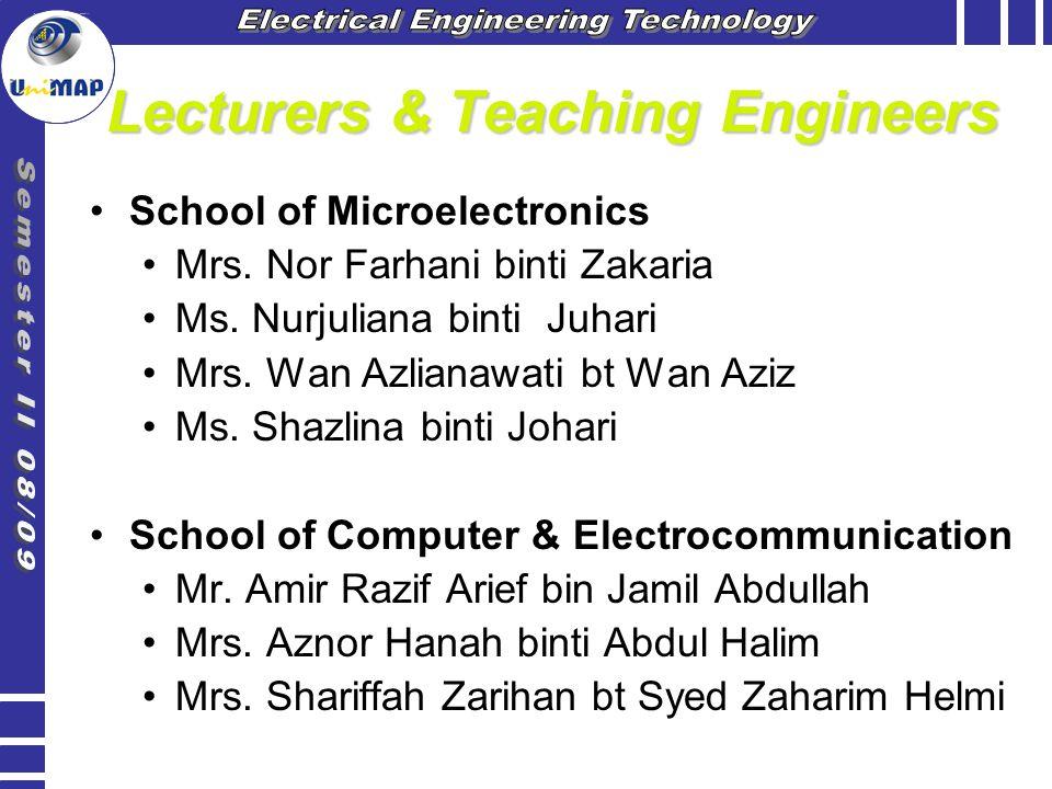 Lecturers & Teaching Engineers School of Microelectronics Mrs. Nor Farhani binti Zakaria Ms. Nurjuliana binti Juhari Mrs. Wan Azlianawati bt Wan Aziz