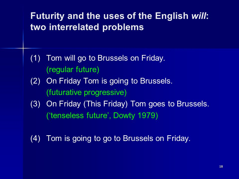 18 Futurity and the uses of the English will: two interrelated problems (1)Tom will go to Brussels on Friday.