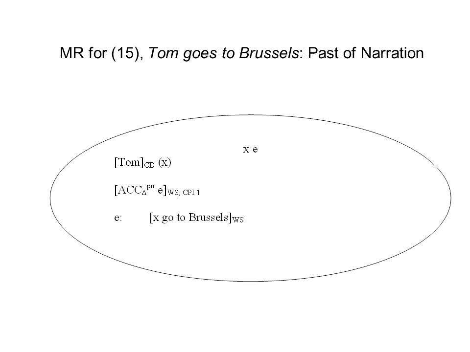 MR for (15), Tom goes to Brussels: Past of Narration
