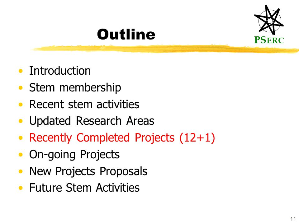 PS ERC 11 Outline Introduction Stem membership Recent stem activities Updated Research Areas Recently Completed Projects (12+1) On-going Projects New Projects Proposals Future Stem Activities