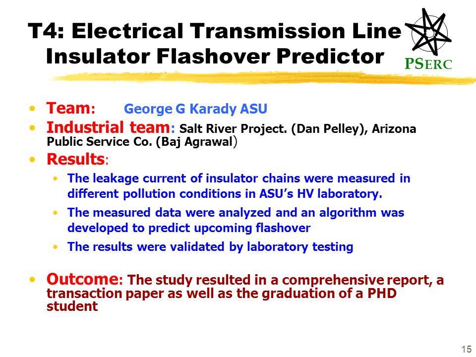 PS ERC 15 T4: Electrical Transmission Line Insulator Flashover Predictor Team :George G Karady ASU Industrial team : Salt River Project.