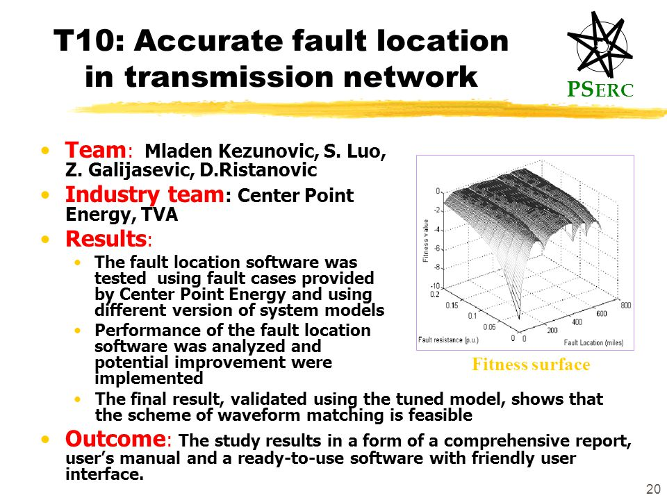 PS ERC 20 T10: Accurate fault location in transmission network Team : Mladen Kezunovic, S.