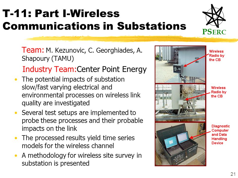 PS ERC 21 T-11: Part I-Wireless Communications in Substations Team: M.