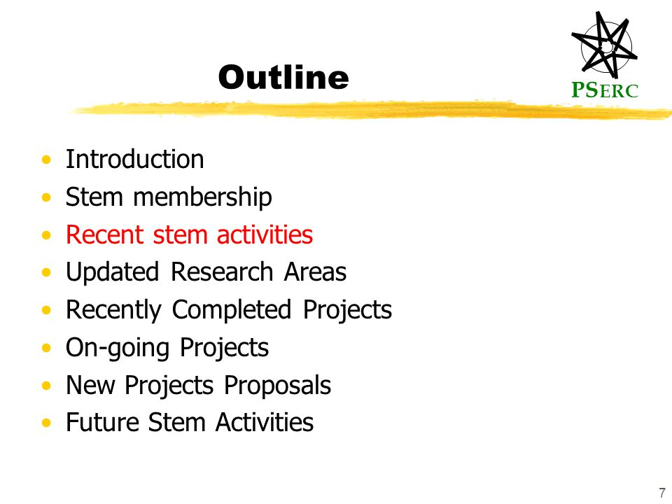 PS ERC 7 Outline Introduction Stem membership Recent stem activities Updated Research Areas Recently Completed Projects On-going Projects New Projects Proposals Future Stem Activities