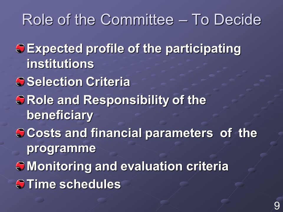 Role of the Committee – To Decide Expected profile of the participating institutions Selection Criteria Role and Responsibility of the beneficiary Costs and financial parameters of the programme Monitoring and evaluation criteria Time schedules 9