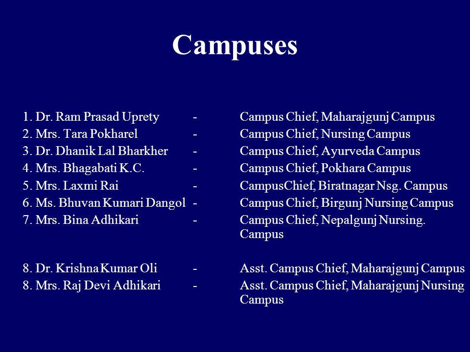 Campuses 1. Dr. Ram Prasad Uprety -Campus Chief, Maharajgunj Campus 2.