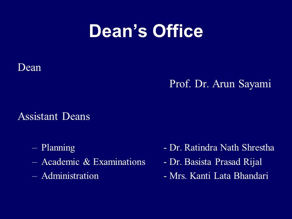 Dean Prof. Dr. Arun Sayami Assistant Deans –Planning - Dr.