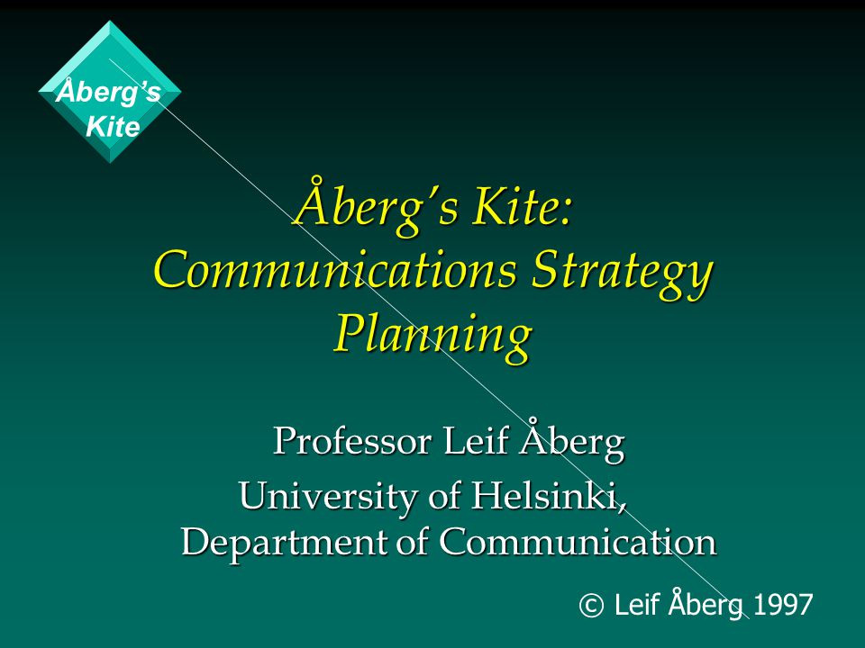 © Leif Åberg 1997 Åberg's Kite: Communications Strategy Planning Professor Leif Åberg University of Helsinki, Department of Communication Åberg's Kite