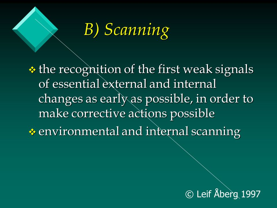 © Leif Åberg 1997 B) Scanning v the recognition of the first weak signals of essential external and internal changes as early as possible, in order to make corrective actions possible v environmental and internal scanning