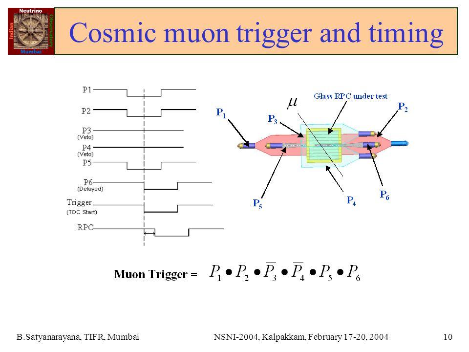 B.Satyanarayana, TIFR, MumbaiNSNI-2004, Kalpakkam, February 17-20, 200410 Cosmic muon trigger and timing