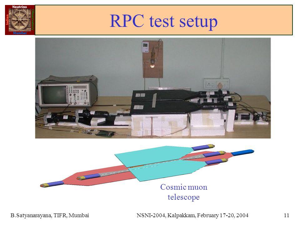 B.Satyanarayana, TIFR, MumbaiNSNI-2004, Kalpakkam, February 17-20, 200411 RPC test setup Cosmic muon telescope