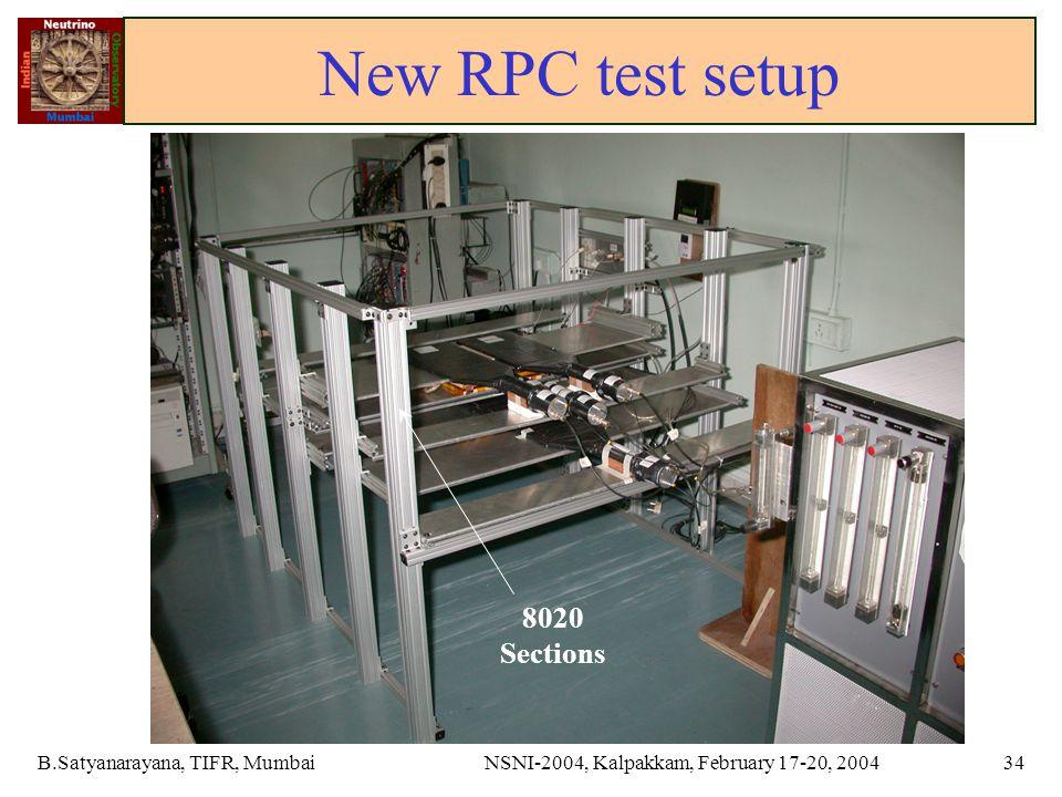 B.Satyanarayana, TIFR, MumbaiNSNI-2004, Kalpakkam, February 17-20, 200434 New RPC test setup 8020 Sections