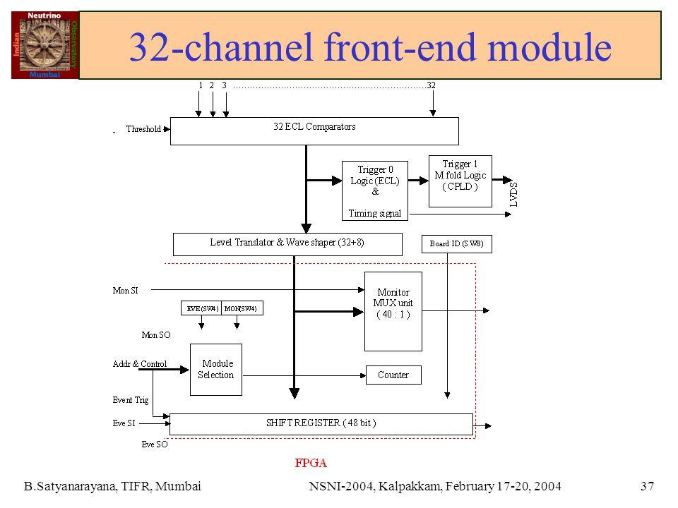 B.Satyanarayana, TIFR, MumbaiNSNI-2004, Kalpakkam, February 17-20, 200437 32-channel front-end module