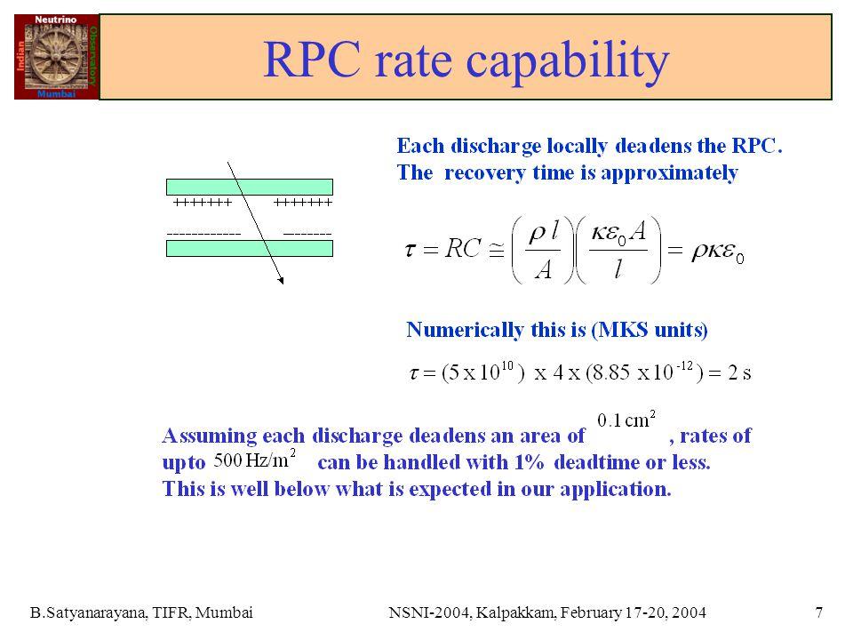 B.Satyanarayana, TIFR, MumbaiNSNI-2004, Kalpakkam, February 17-20, 20047 RPC rate capability