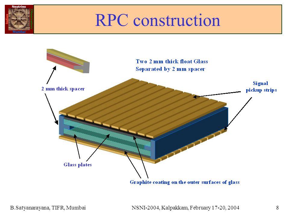 B.Satyanarayana, TIFR, MumbaiNSNI-2004, Kalpakkam, February 17-20, 20048 RPC construction