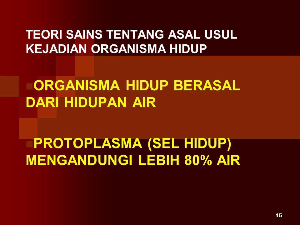 15 TEORI SAINS TENTANG ASAL USUL KEJADIAN ORGANISMA HIDUP ORGANISMA HIDUP BERASAL DARI HIDUPAN AIR PROTOPLASMA (SEL HIDUP) MENGANDUNGI LEBIH 80% AIR