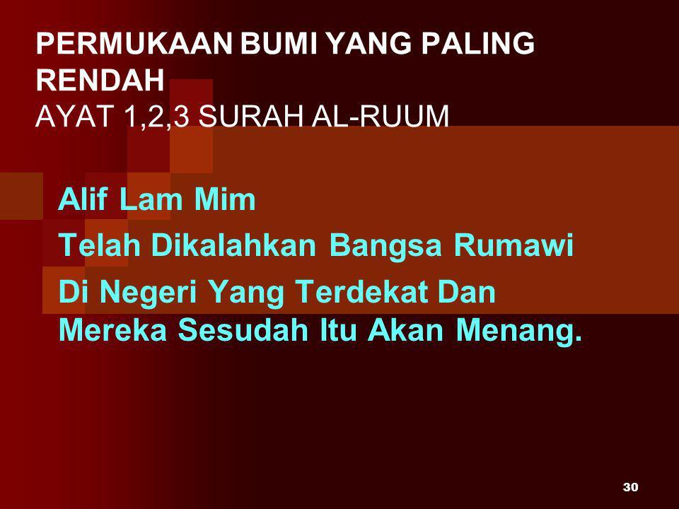 30 Alif Lam Mim Telah Dikalahkan Bangsa Rumawi Di Negeri Yang Terdekat Dan Mereka Sesudah Itu Akan Menang.