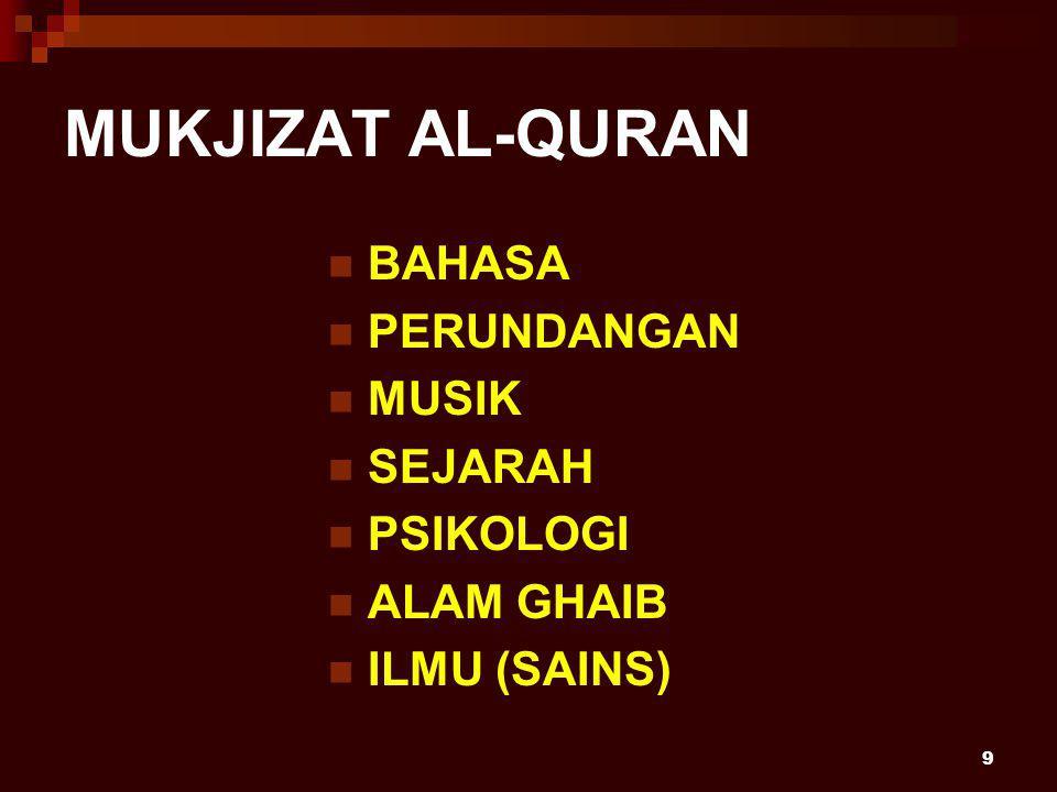 9 MUKJIZAT AL-QURAN BAHASA PERUNDANGAN MUSIK SEJARAH PSIKOLOGI ALAM GHAIB ILMU (SAINS)
