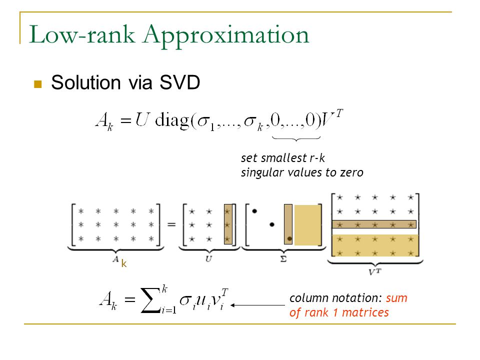 Solution via SVD Low-rank Approximation set smallest r-k singular values to zero column notation: sum of rank 1 matrices k