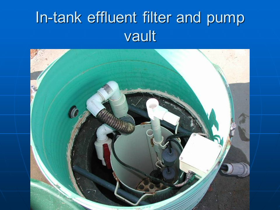 In-tank effluent filter and pump vault