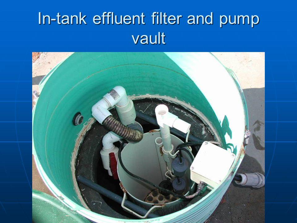 In-tank effluent filter and pump vault