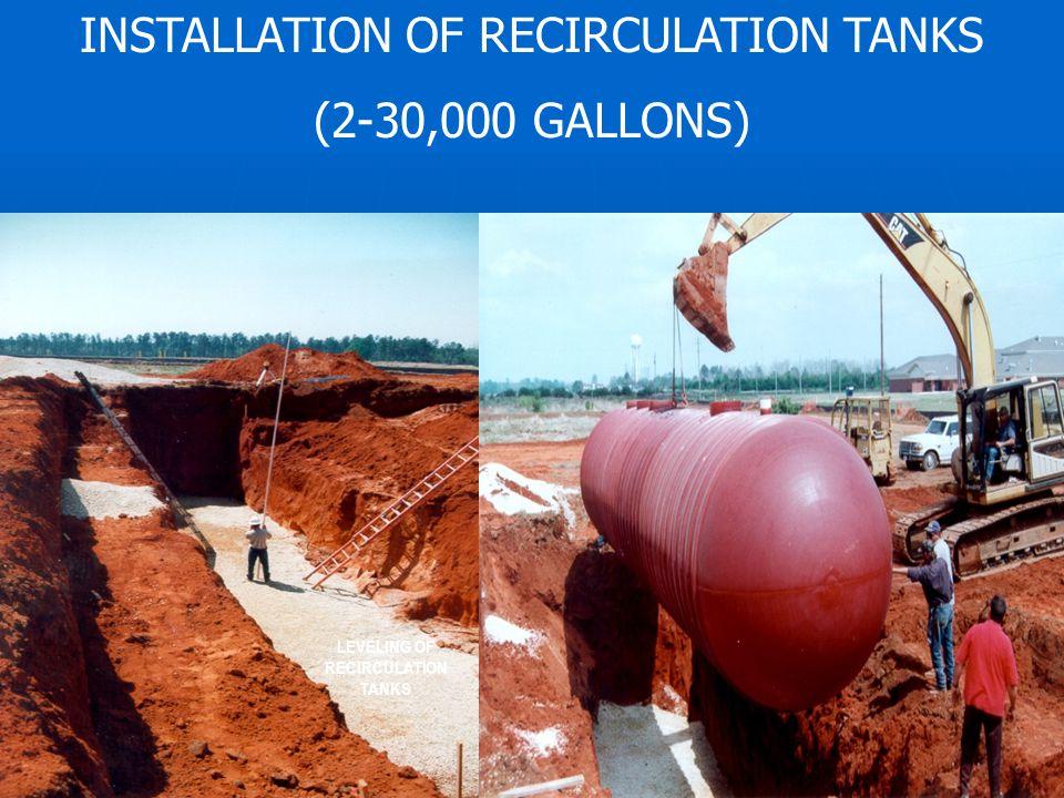 INSTALLATION OF RECIRCULATION TANKS (2-30,000 GALLONS) LEVELING OF RECIRCULATION TANKS