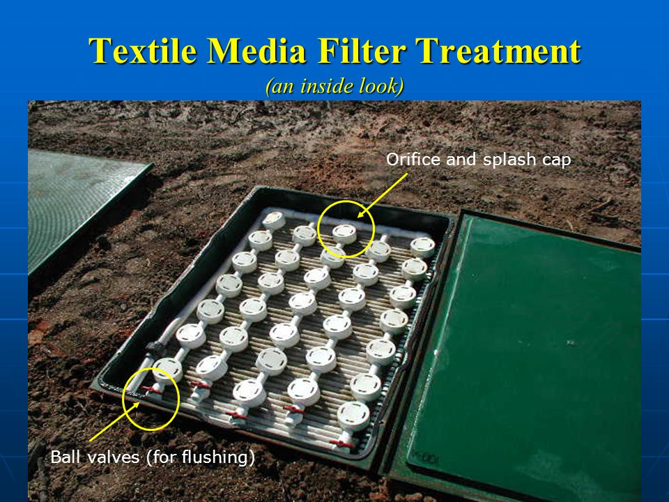 Textile Media Filter Treatment (an inside look) Ball valves (for flushing) Orifice and splash cap
