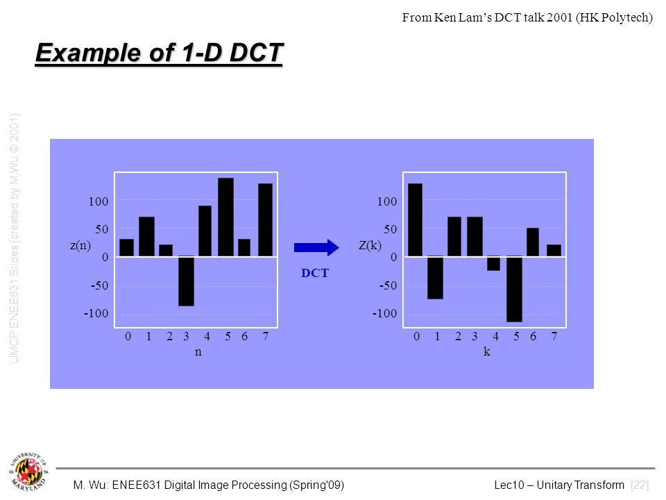 M. Wu: ENEE631 Digital Image Processing (Spring'09) Lec10 – Unitary Transform [22] Example of 1-D DCT 100 50 0 -50 -100 01234567n01234567n z(n) 100 50