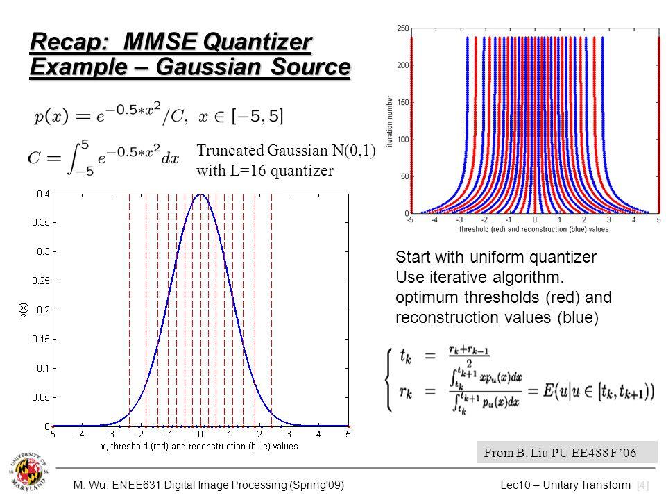 M. Wu: ENEE631 Digital Image Processing (Spring'09) Lec10 – Unitary Transform [4] Recap: MMSE Quantizer Example – Gaussian Source Start with uniform q
