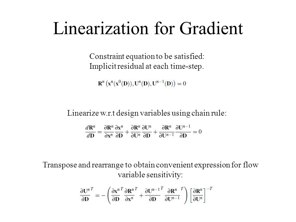Linearization for Gradient Constraint equation to be satisfied: Implicit residual at each time-step. Linearize w.r.t design variables using chain rule