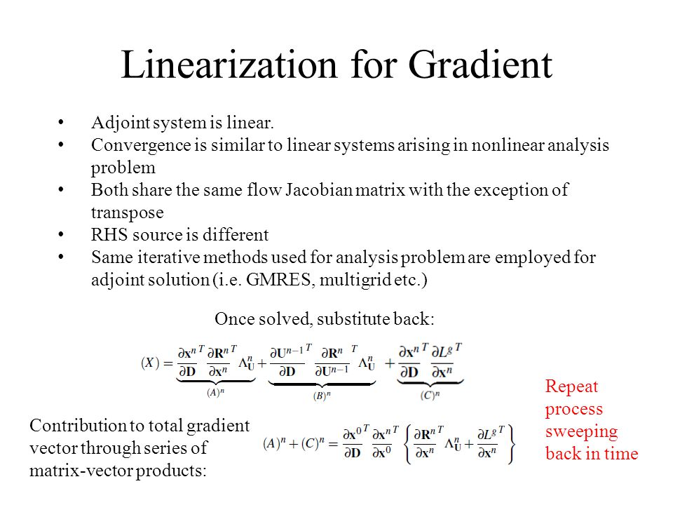 Linearization for Gradient Adjoint system is linear. Convergence is similar to linear systems arising in nonlinear analysis problem Both share the sam