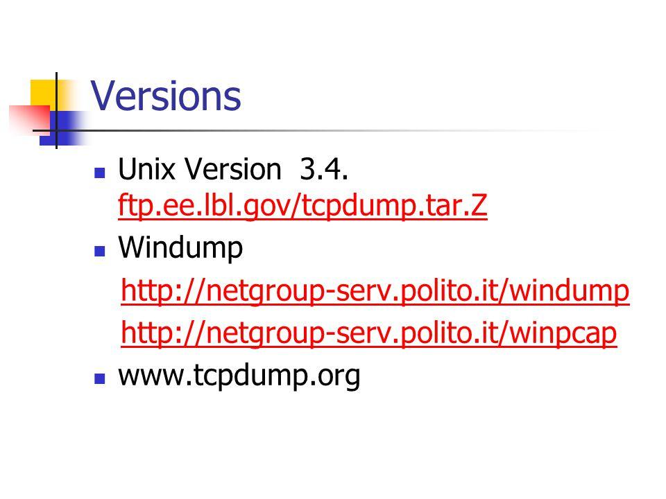 Versions Unix Version 3.4. ftp.ee.lbl.gov/tcpdump.tar.Z ftp.ee.lbl.gov/tcpdump.tar.Z Windump http://netgroup-serv.polito.it/windump http://netgroup-se