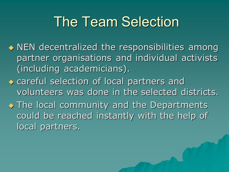 The Team Selection The Team Selection  NEN decentralized the responsibilities among partner organisations and individual activists (including academicians).